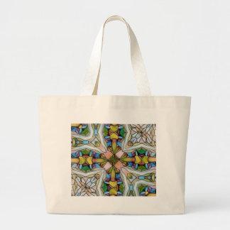 Schönes kreuzförmiges Buntglas inspirierend Jumbo Stoffbeutel