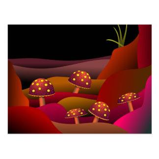 Schönes Land, in dem Pilze wachsen Postkarten