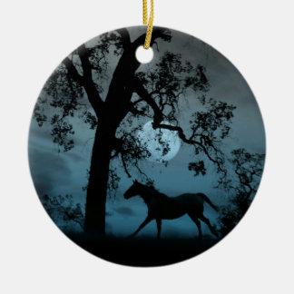 Schönes laufendes Pferde-und Vollmond-Verzierung Keramik Ornament