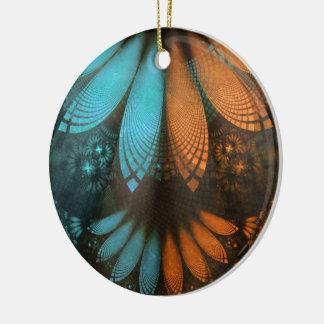 Schönes Leder, Federn und Türkis-Fraktal Keramik Ornament