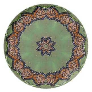 Schönes Monarchfalter-Kaleidoskop Teller