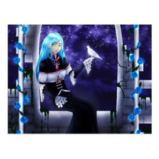 Schönes mysteriöses Anime-Mädchen mit einer Taube Postkarten
