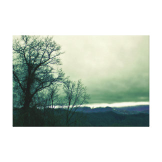 Schönes nebeliges Sturm-LandschaftsFoto Leinwanddruck