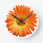 Schönes orange und gelbes Gerbera-Gänseblümchen Wanduhren