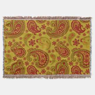 Schönes Paisley   olivgrüner zitronengelber Decke