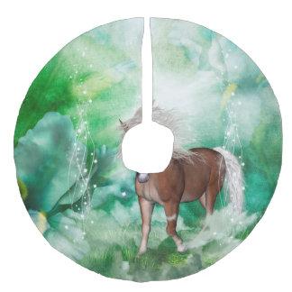 Schönes Pferd im Märchenland Leinenimitat Weihnachtsbaumdecke