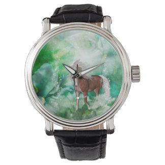Schönes Pferd im Märchenland Uhr