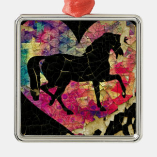 Schönes Pferd Quadratisches Silberfarbenes Ornament