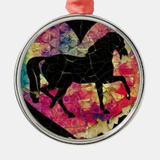Schönes Pferd Rundes Silberfarbenes Ornament