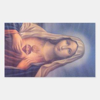 Schönes religiöses heiliges Herz der Jungfrau Mary Rechteckiger Aufkleber