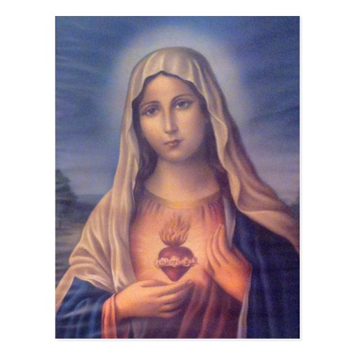 Schönes religiöses heiliges Herz der Jungfrau Mary Postkarte