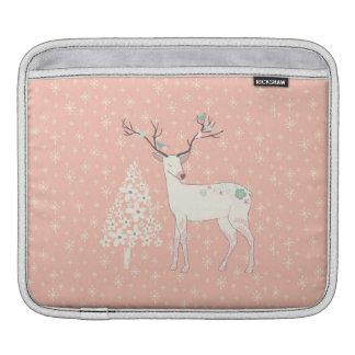 Schönes Ren-und Schneeflocke-Rosa Sleeve Für iPads