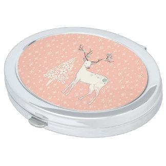Schönes Ren-und Schneeflocke-Rosa Taschenspiegel