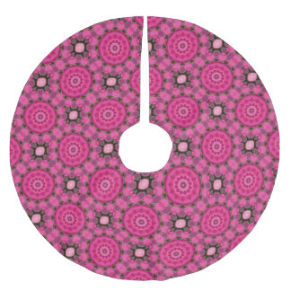 Schönes Rosa blüht 02,7, Mandala-Weihnachten Polyester Weihnachtsbaumdecke