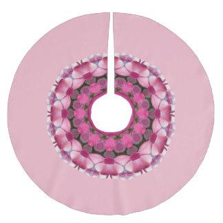 Schönes Rosa blüht 2,6, Mandala-Weihnachten Polyester Weihnachtsbaumdecke