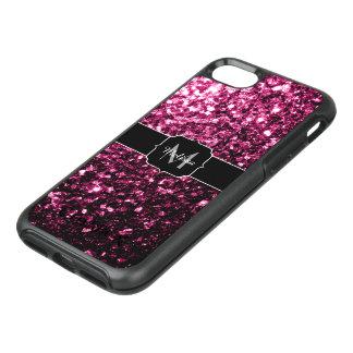 Schönes rosa Glitter-Glitzern Monogramm OtterBox Symmetry iPhone 8/7 Hülle