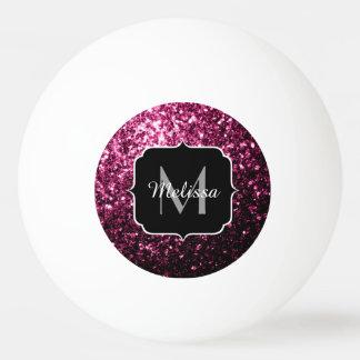 Schönes rosa Glitter-Glitzern Monogramm Tischtennis Ball