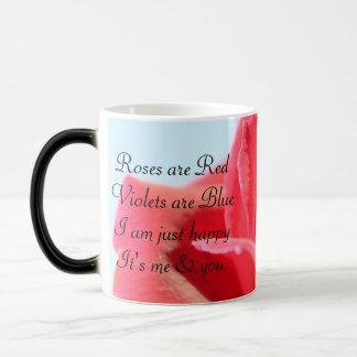 Schönes Rosen-u. Liebe-Gedicht Verwandlungstasse
