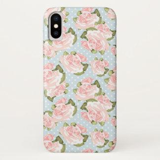 Schönes Rosenmuster mit blauen Polkapunkten iPhone X Hülle