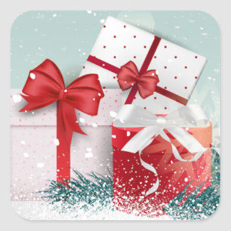 Schönes rotes WeihnachtsGeschenkboxenschneien Quadratischer Aufkleber