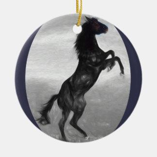Schönes schwarzes Pferdemehrfache Produkte Keramik Ornament