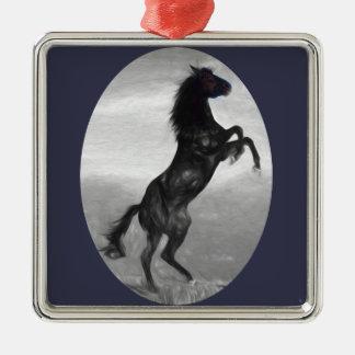 Schönes schwarzes Pferdemehrfache Produkte Silbernes Ornament