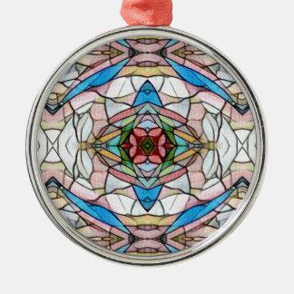Schönes seltenes künstlerisches Buntglas-Muster Silbernes Ornament