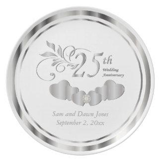 Schönes Silber und weißes Jahrestags-Andenken Teller
