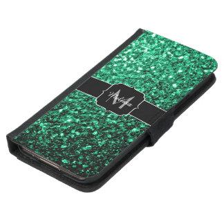 Schönes Smaragdgrün-Glitter-Glitzern Monogramm Geldbeutel Hülle Für Das Samsung Galaxy S5