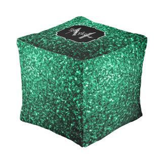 Schönes Smaragdgrün-Glitter-Glitzern Monogramm Kubus Sitzpuff