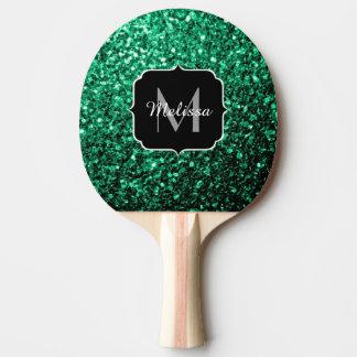 Schönes Smaragdgrün-Glitter-Glitzern Monogramm Tischtennis Schläger