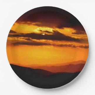 Schönes Sonnenuntergang-Foto Pappteller