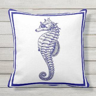 Schönes Trendy blaues nautischSeepferd Kissen