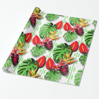 Schönes Trendy tropisches Blatt-Blumen-Thema Geschenkpapier