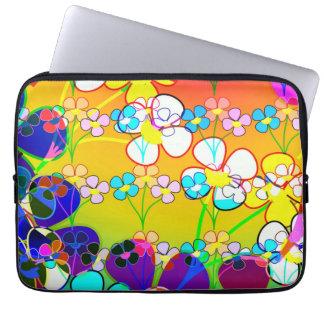 Schönes vibrierendes abstraktes Blumen Laptop Sleeve