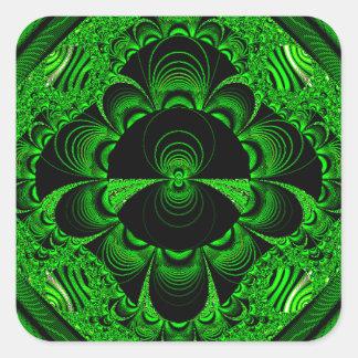 Schönes vibrierendes grünes Fraktal-Themed Waren Quadrataufkleber