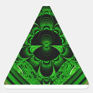 Schönes vibrierendes grünes Fraktal-Themed Waren Dreieckaufkleber