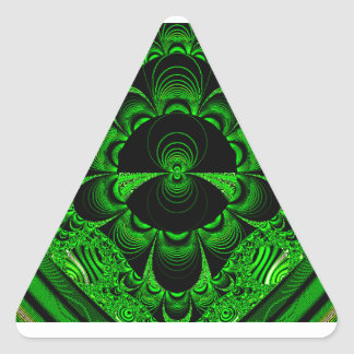 Schönes vibrierendes grünes Fraktal-Themed Waren Dreiecks-Aufkleber