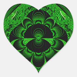 Schönes vibrierendes grünes Fraktal-Themed Waren Herz Sticker