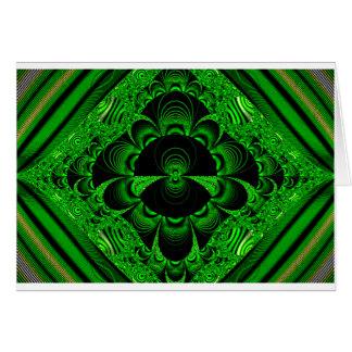 Schönes vibrierendes grünes Fraktal-Themed Waren Karte