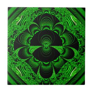 Schönes vibrierendes grünes Fraktal-Themed Waren Kleine Quadratische Fliese