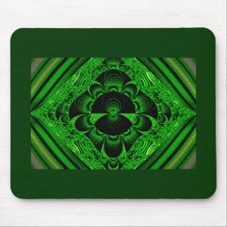 Schönes vibrierendes grünes Fraktal-Themed Waren Mauspads