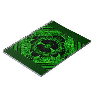 Schönes vibrierendes grünes Fraktal-Themed Waren Notizbuch