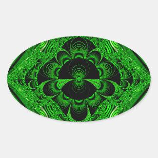 Schönes vibrierendes grünes Fraktal-Themed Waren Ovaler Aufkleber