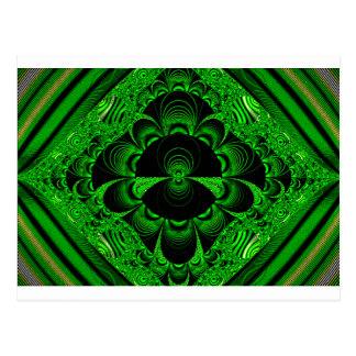 Schönes vibrierendes grünes Fraktal-Themed Waren Postkarte