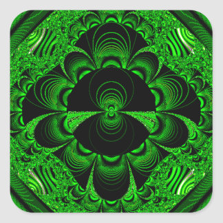 Schönes vibrierendes grünes Fraktal-Themed Waren Quadrat-Aufkleber