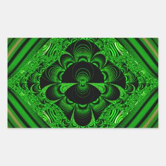 Schönes vibrierendes grünes Fraktal-Themed Waren Rechteckiger Aufkleber