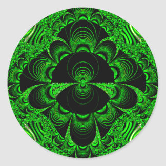 Schönes vibrierendes grünes Fraktal-Themed Waren Runder Aufkleber