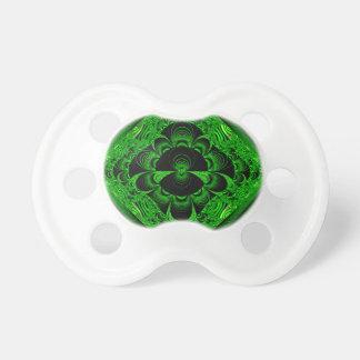 Schönes vibrierendes grünes Fraktal-Themed Waren Schnuller