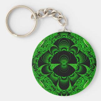 Schönes vibrierendes grünes Fraktal-Themed Waren Standard Runder Schlüsselanhänger